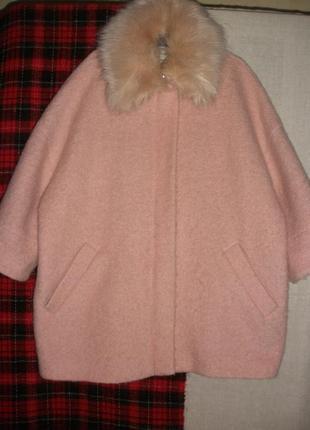 Объемное кокон шерстяное пальто river island съемный воротник