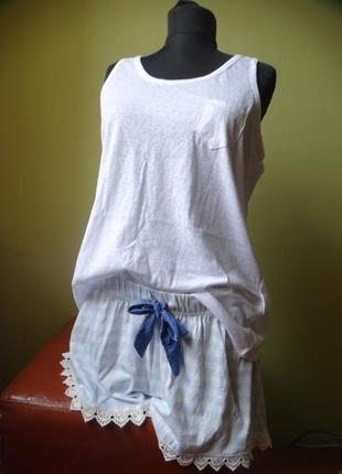Хлопковый комплект для дома майка шорты love to lounge 50-52 размер