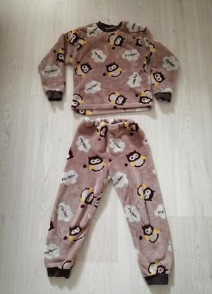 Плюшевая махровая тёплая пижама