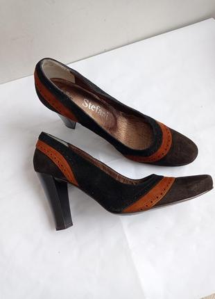 Туфли замшевые, цвет коричневый с рыжими вставками, размер 37-25,5 см