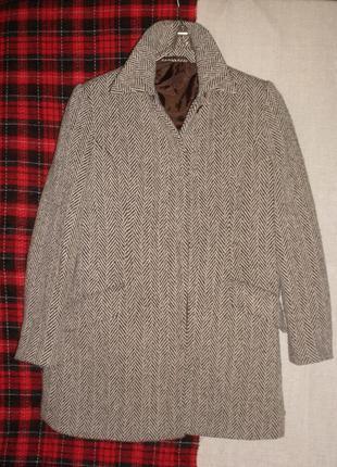 Идеальное пальто полупальто в елочку berkertex прямого силуэта