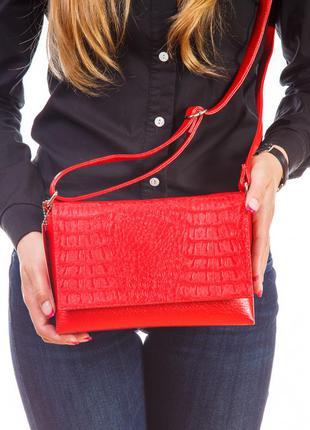 Красная маленькая сумка на плечо кросс-боди с крокодиловым клапаном