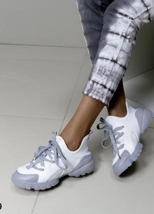 Кроссовки комбинированные белые, кроссовки текстильные с силиконовыми вставками