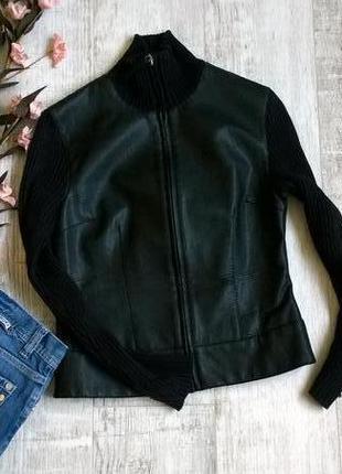 Стильная черная куртка кожа с вязаными рукавами we-s-ка