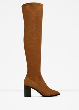 Zara замшевые ботфорты, сапоги, сапожки, чулки, демисезон, стелька 27 см