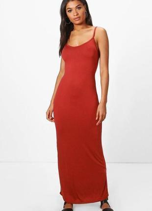 Терракотовое облегающее платье-майка макси в пол для стройняшки с-м