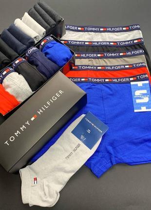 Трусы мужские tommy hilfiger 5 штук + набор носков 9 пар в подарочной коробке
