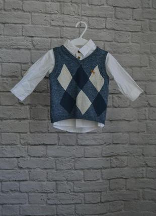 Набор рубашка и жилетка, h&m, 68см