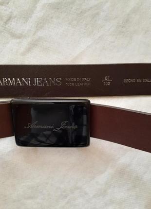 Ремень кожаный коричневый armani