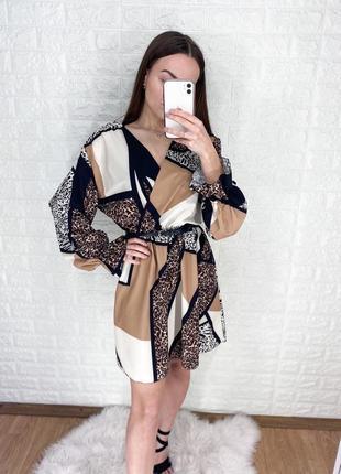 Стильное лёгкое платья с шикарными рукавами и резиночкой на поясе от boohoo 🤍