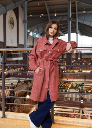 Шерстяное деми пальто в рубашечном стиле терракот