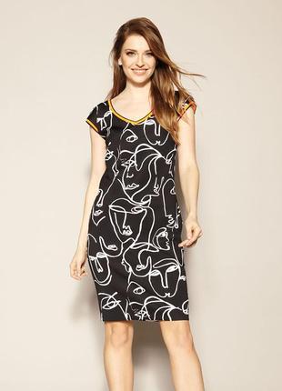 Платьедо колена zaps austin 004 черное короткое короткий рукав трикотаж весеннее летнее