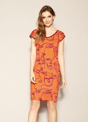 Платье до колена zaps austin 053 оранжевое короткое короткий рукав весеннее летнее1 фото