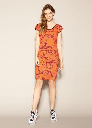Платье до колена zaps austin 053 оранжевое короткое короткий рукав весеннее летнее2 фото