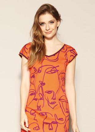 Платье до колена zaps austin 053 оранжевое короткое короткий рукав весеннее летнее3 фото
