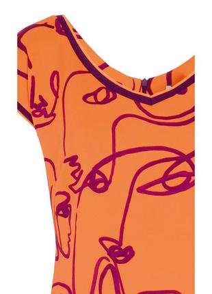 Платье до колена zaps austin 053 оранжевое короткое короткий рукав весеннее летнее5 фото