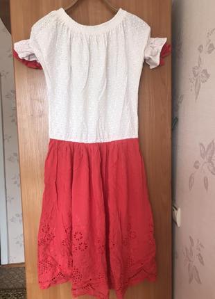 Красивое яркое натуральное платье- миди из хлопка