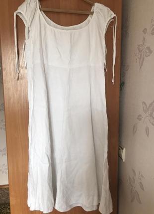 Белоснежное льняное натуральное платье- сарафан