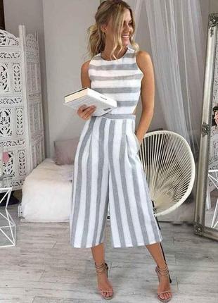 Льняной летний комбинезон ромпер штанами капри шортами кюлотами белый серый в полоску