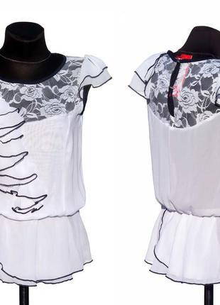 Суперцена. шикарная шифоновая блуза, вставки гипюра. волан. новая, р s-m