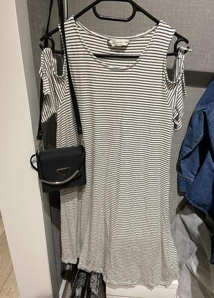 Классное летнее платье с плечиками завязками в плоску f&f