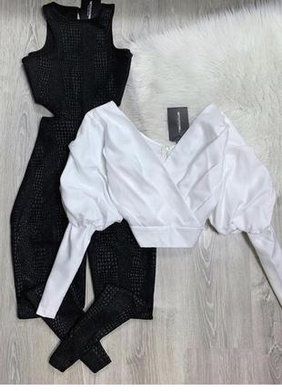 Блуза белая с объёмными рукавами блузка prettylittlething