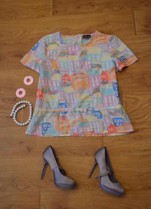 Легкая блуза, футболка с имитацией баски, короткий рукав, милый принт - домики