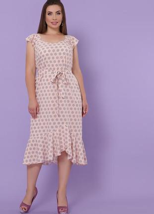 Летнее женственное платье миди персиковое в горошек