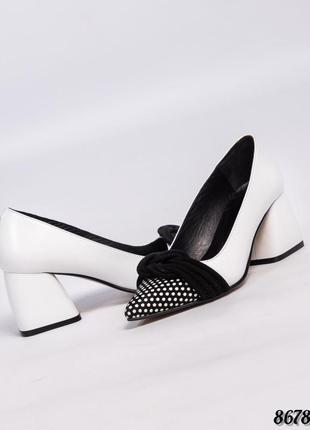 Кожаные элегантные туфли лодочки на каблуке натуральная кожа
