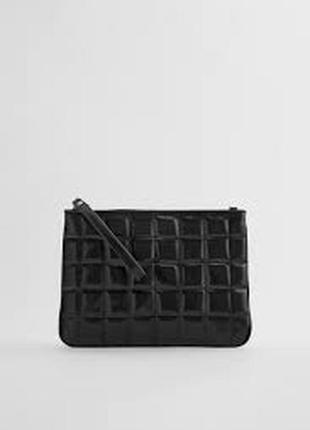 Стеганая черная сумка - клатч на цепочке