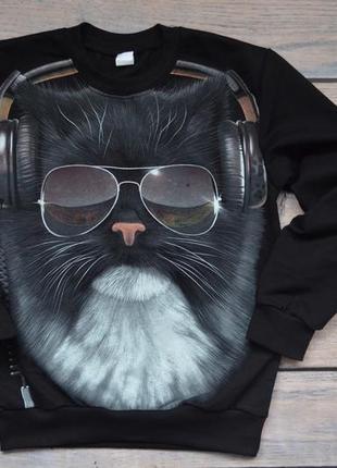 """✅суперский джемпер со светящимся в темноте рисунком """"кот в наушниках"""" 122-134 рост"""