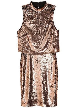 Платье с пайетками h&m бронзовый 4706664dm