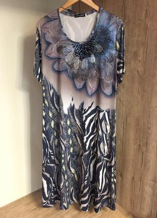 Новое вискозное шикарное турецкое платье миди 52 размера