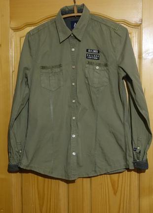 Креативная приталенная фирменная рубашка цвета оливы gaastra голландия xxl
