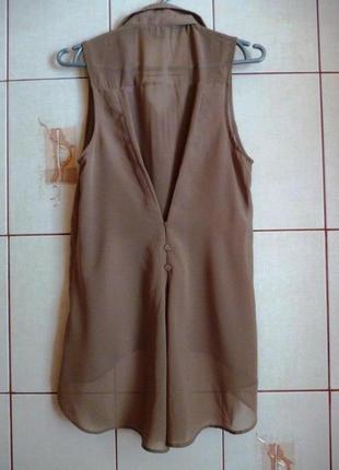 Ассиметричная шифоновая блуза-фрак s-m красивая спина