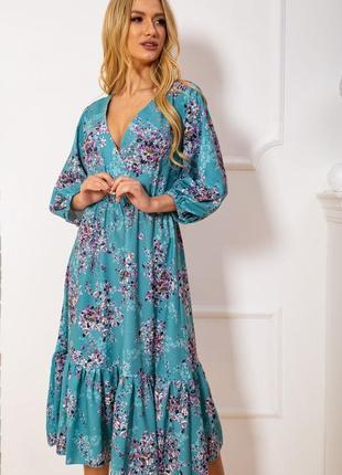 Миди платье в цветочный - s m l
