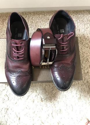Туфли лоферы бордовые