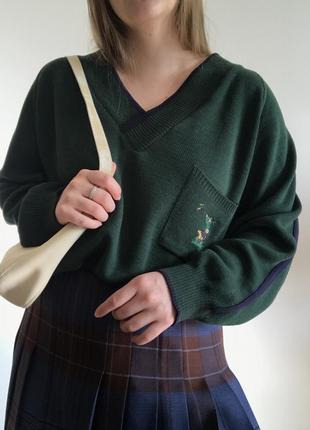 Зеленый шерстяной винтажный пуловер с вышивкой council