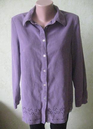 Стильная блузка-рубашка с перфорацией