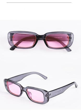 Очки тренд 2021 узкие серые розовые прозрачные солнцезащитные ретро 60-е окуляри рожеві