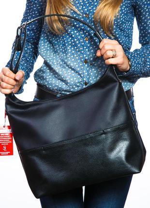 Черная сумка шоппер матовая с одной ручкой на плечо сумка-мешок