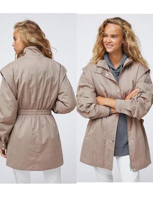 Oysho оригинал мягкая объемная утепленная парка куртка из водостойкой ткани цвета тауп