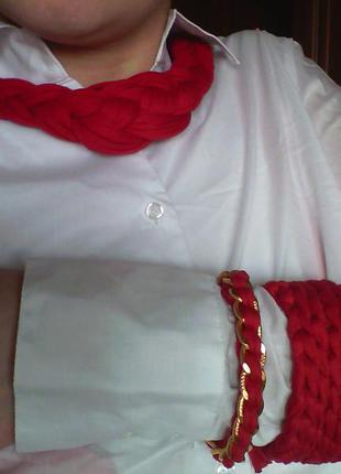 Колье и браслеты из трикотажной пряжи