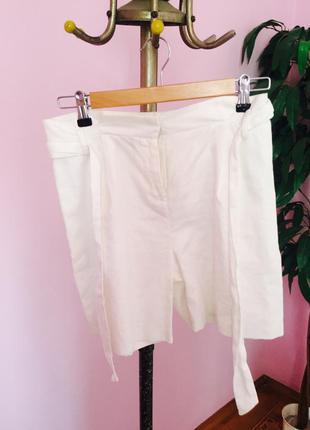 Белые льняные шорты promod