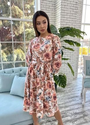 Платье миди с цветым принтом, 3 расцветки
