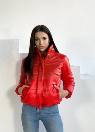 В наличии куртка женская эко-кожа  цвет красный
