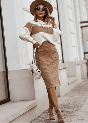 Вязаный прогулочный костюм юбка миди карандаш с карманами и свитер оп.т