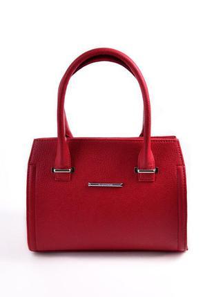 Красная женская сумка деловая саквояж матовая среднего размера
