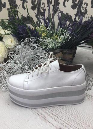Туфли, кеды, слипоны на высокой платформе белые натуральная кожа toni