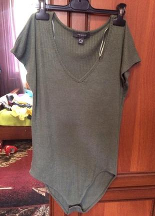 Боді футболка кольору хакі primark